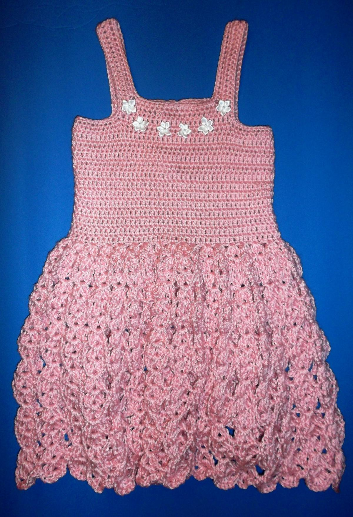 Pink Crochet Girls Dress